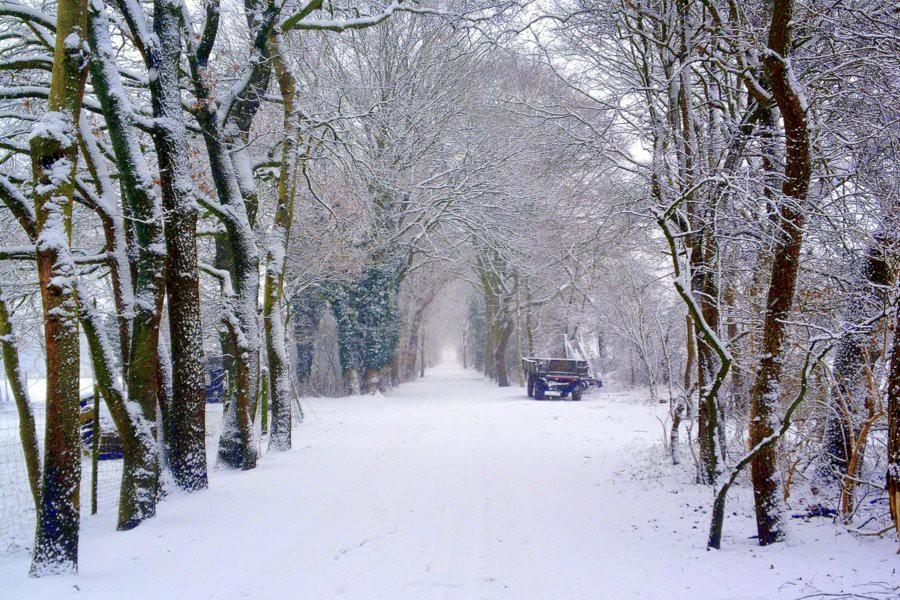 Sneeuw in Bremen in de wijk Oberneuland