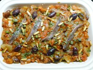 bloemkool putanesca met olijven en ansjovis