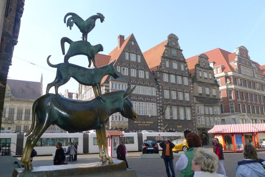 Bremer Stadtmusikanten standbeeld in Bremen