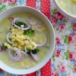 bloemkoolsoep met broccoli kaas en rode ui