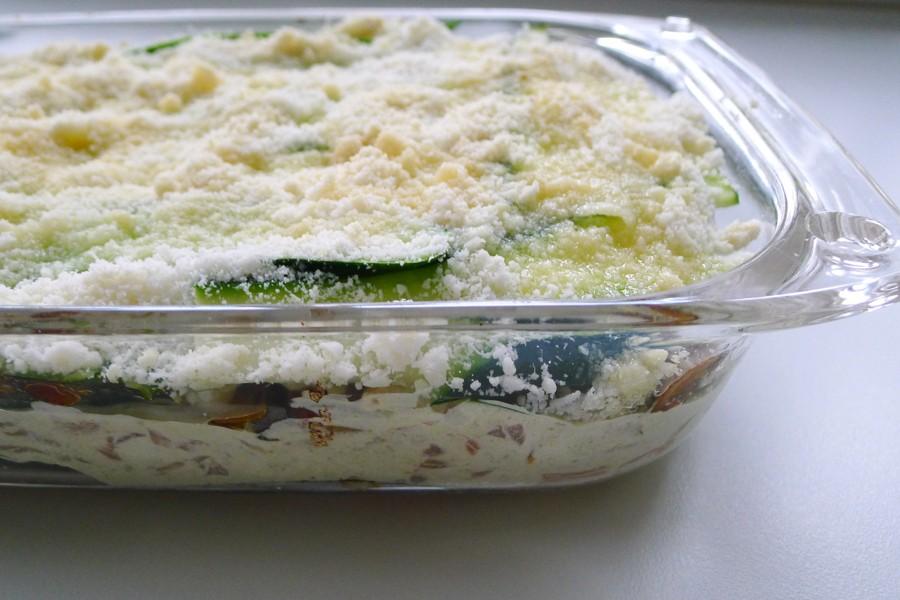 Ovenschotel met zalm lasagne van courgette plakken
