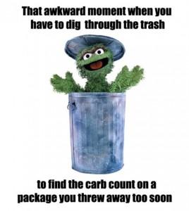 meten wegen en tellen van koolhydraten zorgt dat je verpakking uit de vuilnisbak moet halen