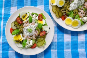 Scandinavische redeemed of garnalensalade zonder brood