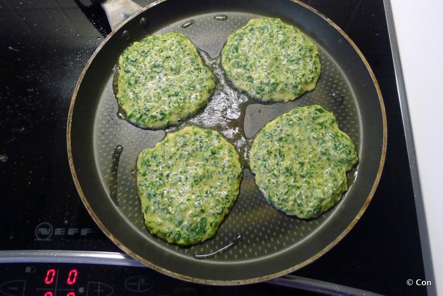 spinazie latkes koekenpan