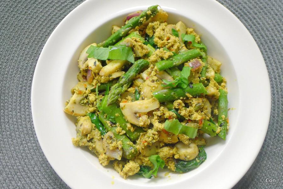 tofu scramble champignons asperges