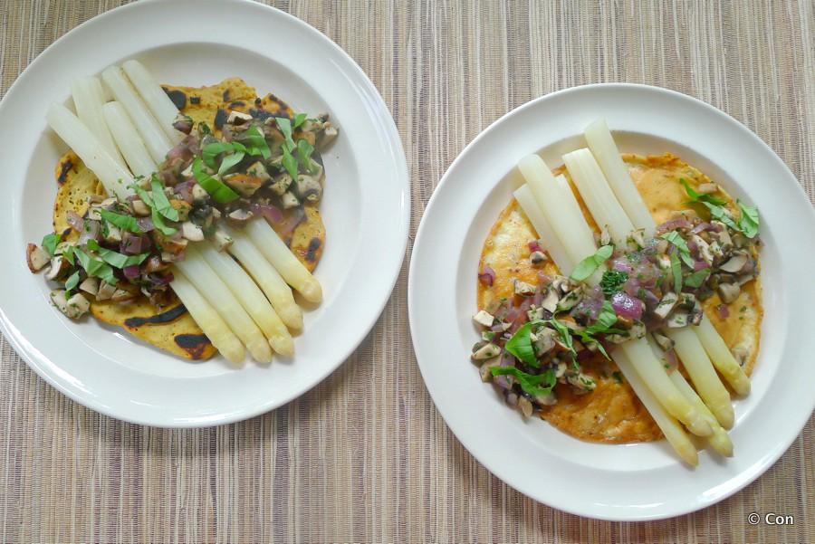omelet met asperges champignons vegan