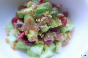 komkommer avocado salade kersen