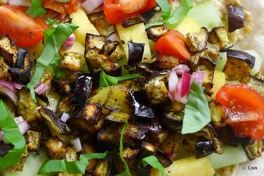aubergine croutons salade koolhydraatarm