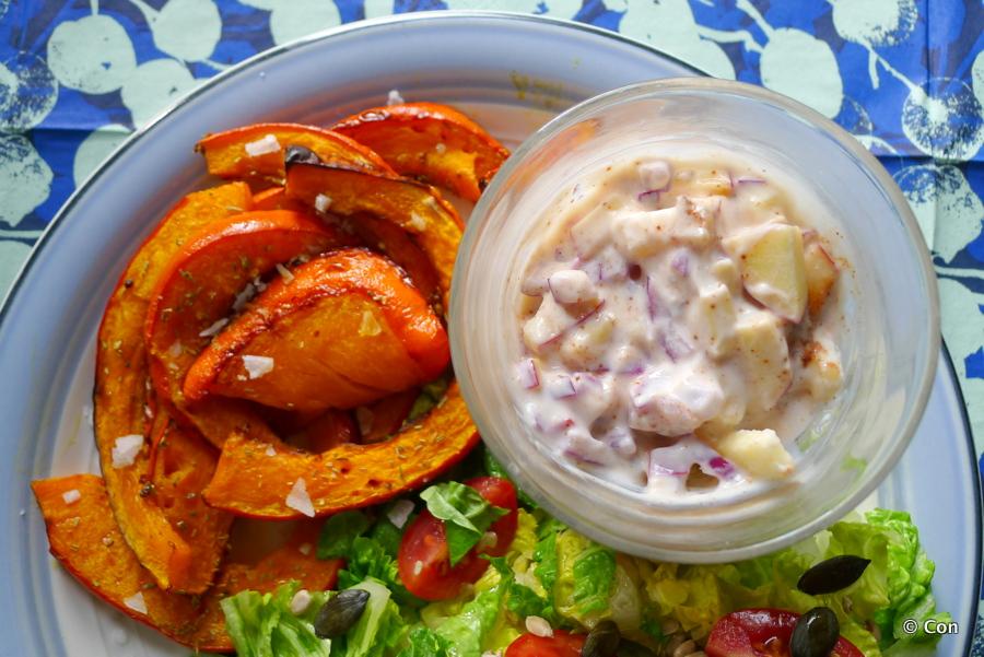 appel ui dip pompoen salade