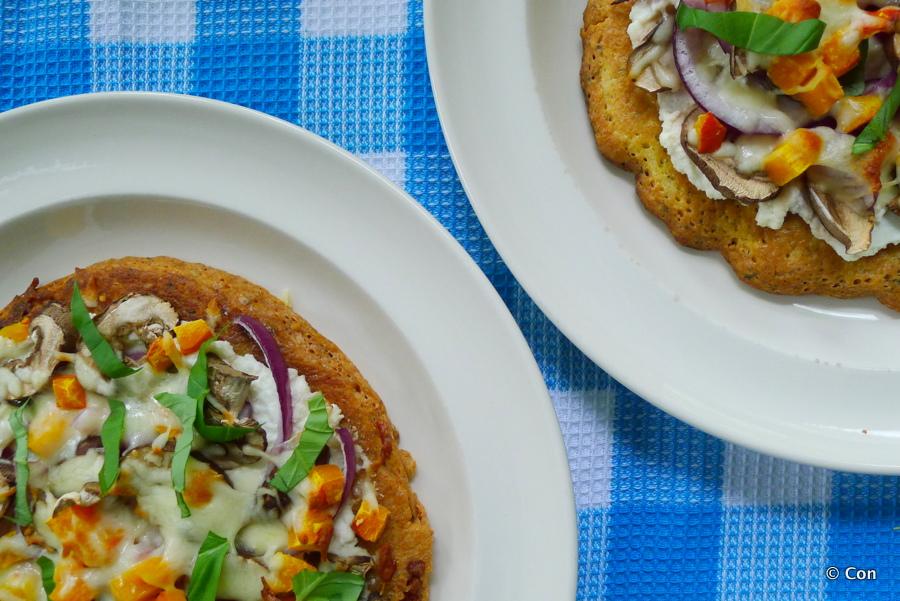 Pizza met pompoen, champignons en ricotta