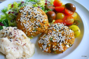 vegane burgers zoete aardappel falafel