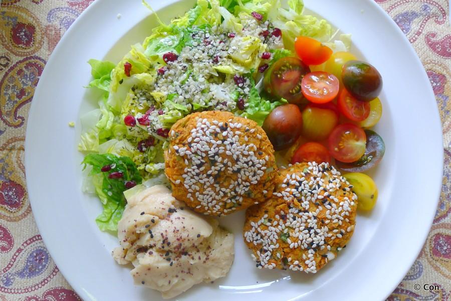vegan falafel zoete aardappel