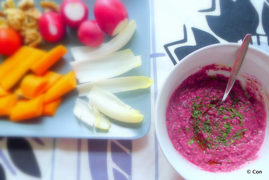 Bietjesdip met rauwe groenten
