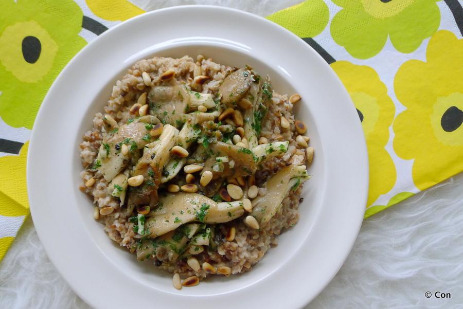 Boekweit risotto met oesterzwammen