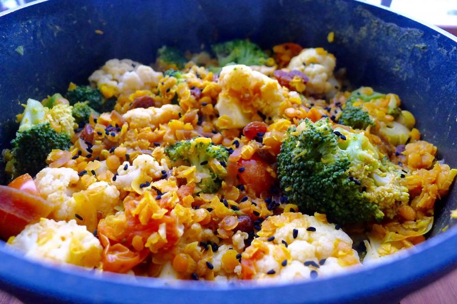 linzencurry broccoli bloemkool