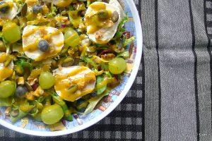 salade gemengd geitenkaas dressing noten
