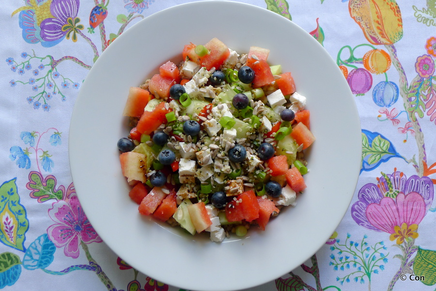 Watermeloen komkommer saladenet feta recept ~ minder koolhydraten, maximale smaak ~ www.con-serveert.nl