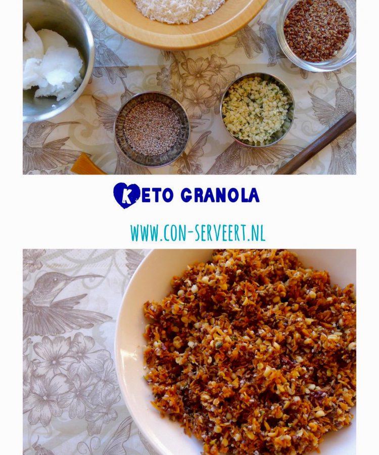 Deze granola telt bijna geen koolhydraten en past daarom prima in een ketogeen dieet. En ze is ook nog eens glutenvrij, notenvrij, suikervrij en vegan ~ minder koolhydraten, maximale smaak ~ www.con-serveert.nl