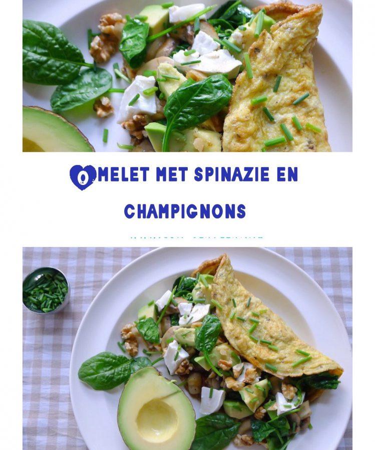 Een flink gevulde omelet met spinazie en champignons vormt een goede koolhydraatarme lunch op je bord ~ minder koolhydraten, maximale smaak ~ www.con-serveert.nl