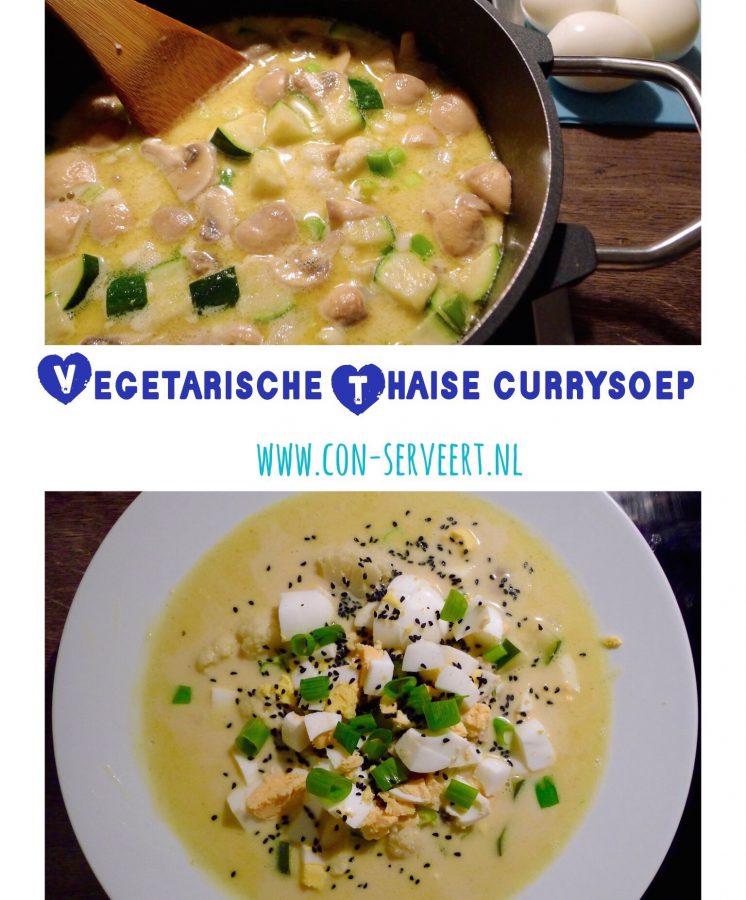 Deze Thaise currysoep kun je zo pittig maken als je zelf wilt. Serveer 'm met gekookte eieren en je hebt een heerlijk vegetarische én koolhydraatarme maaltijd ~ minder koolhydraten, maximale smaak ~ www.con-serveert.nl
