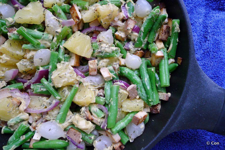 Sperziebonen schotel met zilveruitjes en ananas recept ~ minder koolhydraten, maximale smaak ~ www.con-serveert.nl