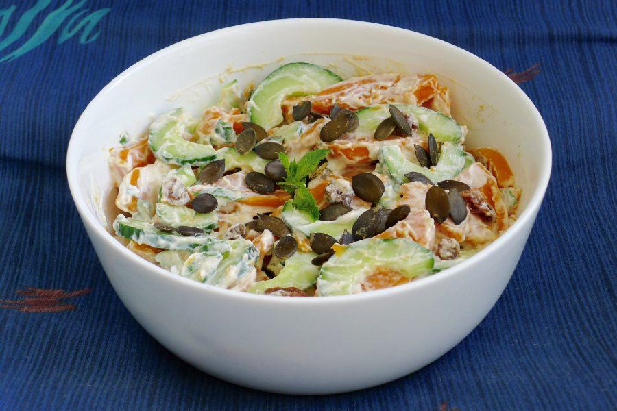 Zoete aardappel salade met munt raita recept ~ minder koolhydraten, maximale smaak ~ www.con-serveert.nl