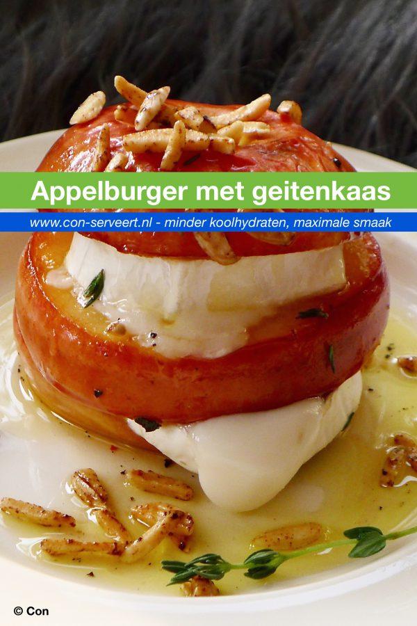 Appel burger met geitenkaas recept ~ minder koolhydraten, maximale smaak ~ www.con-serveert.nl
