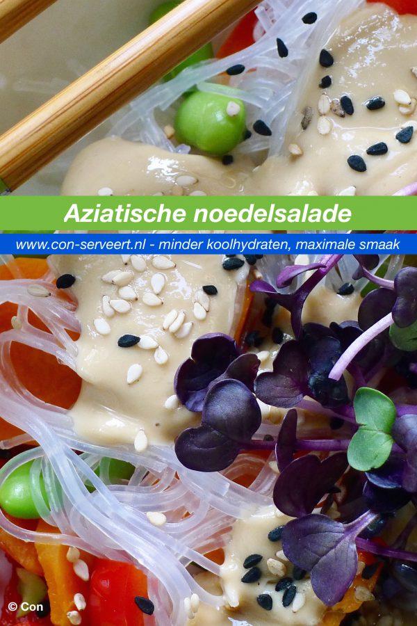 Glutenvrije en vegane Aziatische noedelsalade - Con-serveert - minder koolhydraten, maximale smaak