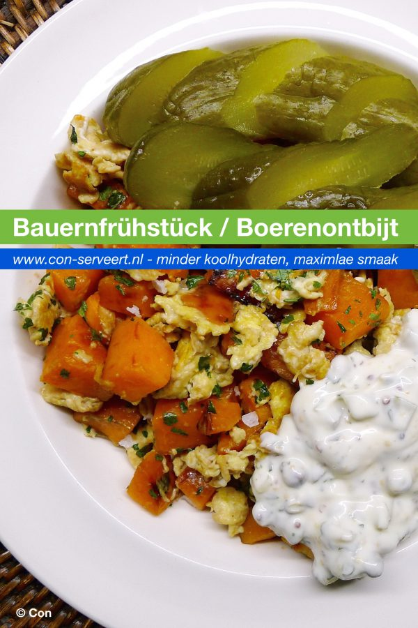 Bauernfrühstück (Duits boerenontbijt) recept ~ minder koolhydraten, maximale smaak ~ www.con-serveert.nl