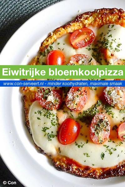 Eiwitrijke koolhydraatarme skyr-bloemkoolpizza recept ~ minder koolhydraten, maximale smaak ~ www.con-serveert.nl