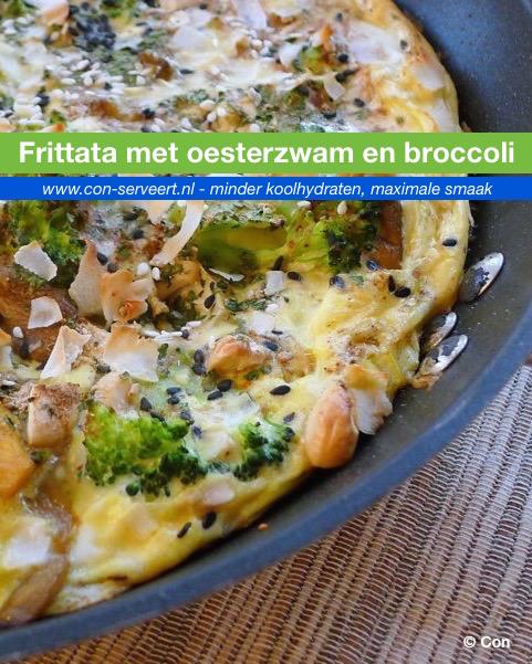 Frittata met oesterzwam en broccoli recept ~ minder koolhydraten, maximale smaak ~ www.con-serveert.nl