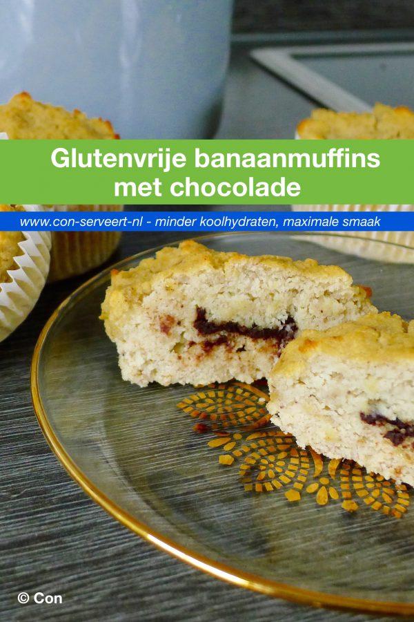 Glutenvrije banaanmuffins met chocolade recept ~ minder koolhydraten, maximale smaak ~ www.con-serveert.nl