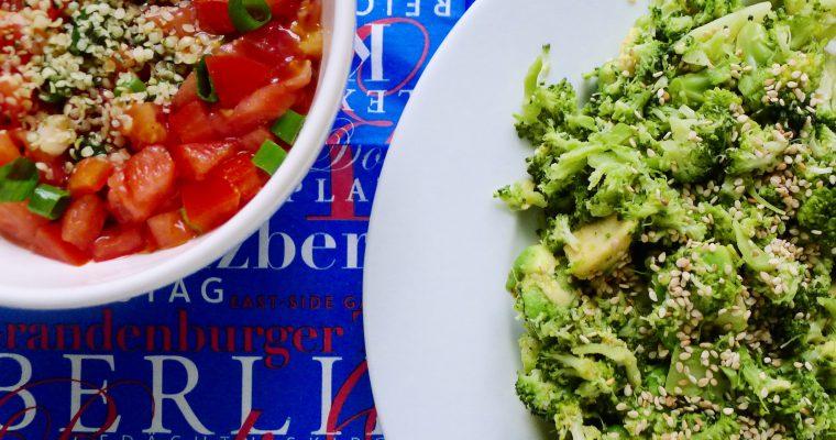 Broccoli avocado zomerstamppotje met tomatensalsa