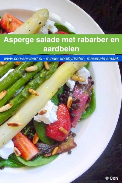Asperge salade met rabarber en aardbeien recept ~ minder koolhydraten, maximale smaak ~ www.con-serveert.nl