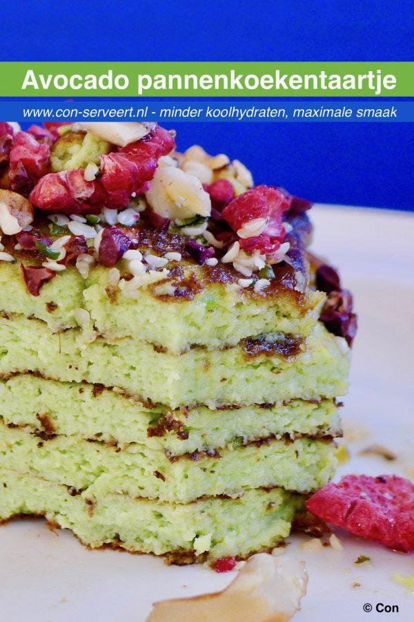 Avocado pannenkoekentaartje recept ~ minder koolhydraten, maximale smaak ~ www.con-serveert.nl