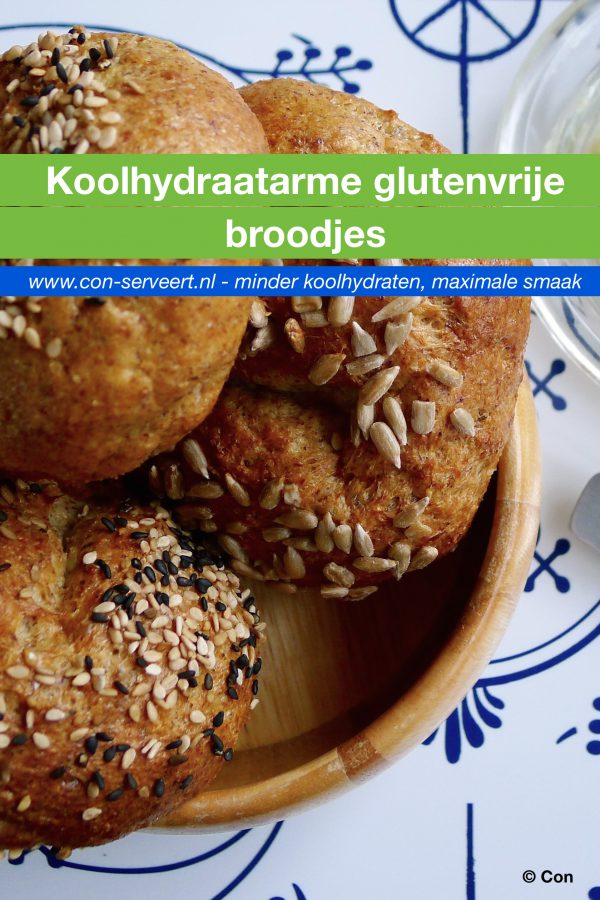 Koolhydraatarme glutenvrije broodjes recept ~ minder koolhydraten, maximale smaak ~ www.con-serveert.nl