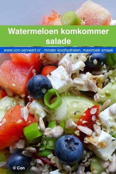 Watermeloen komkommer salade recept ~ minder koolhydraten, maximale smaak ~ www.con-serveert.nl