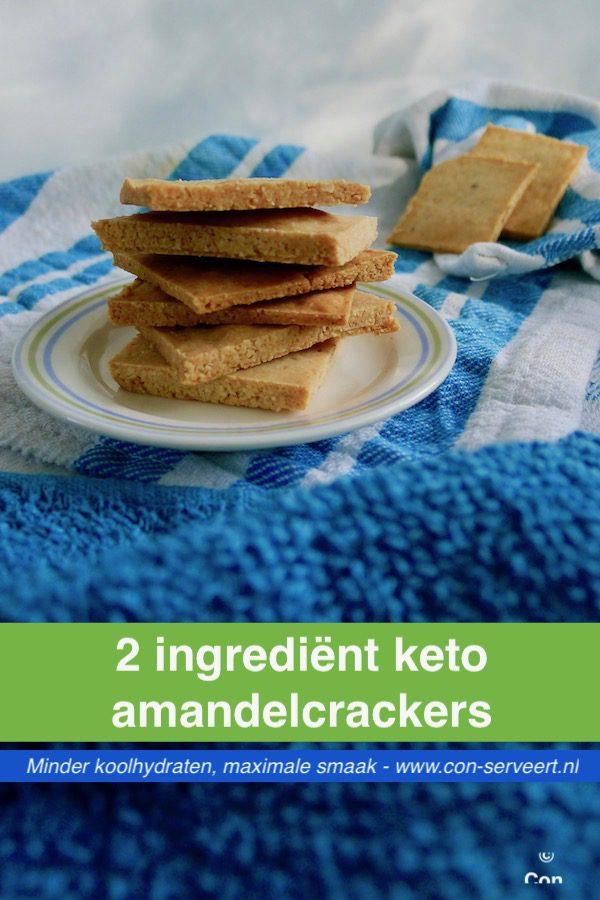 2 Ingrediënt keto amandelcrackers recept ~ minder koolhydraten, maximale smaak ~ www.con-serveert.nl