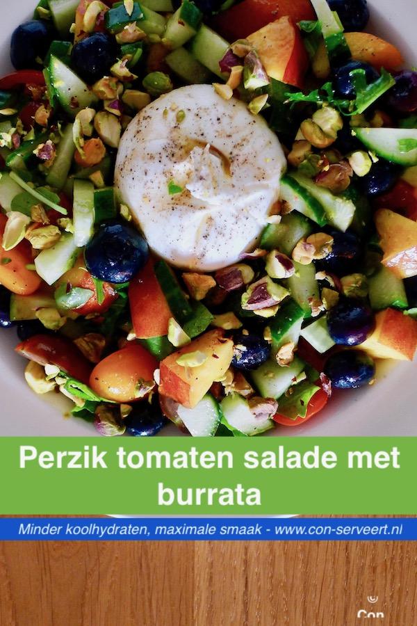 Perzik tomaten salade met burrata recept, koolhydraatarm ~ minder koolhydraten, maximale smaak ~ www.con-serveert.nl