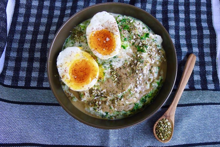 Hartige porridge van bloemkool
