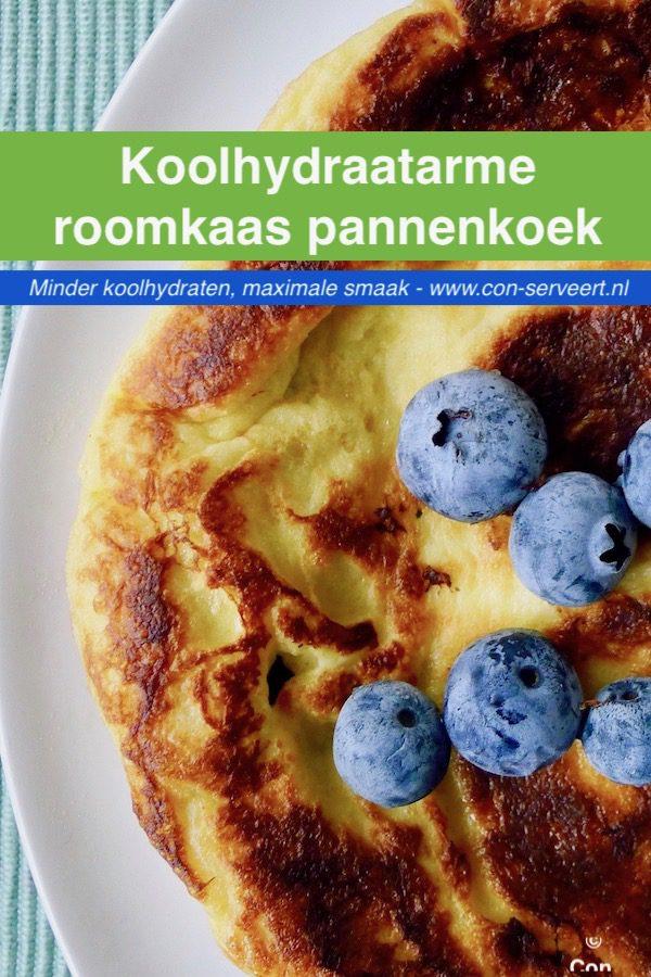 Koolhydraatarme roomkaas pannenkoek recept ~ minder koolhydraten, maximale smaak ~ www.con-serveert.nl