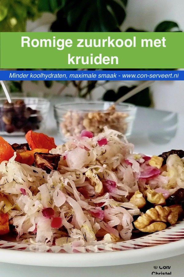 Romige zuurkool met kruiden, koolhydraatarm en ketogeen recept ~ minder koolhydraten, maximale smaak ~ www.con-serveert.nl