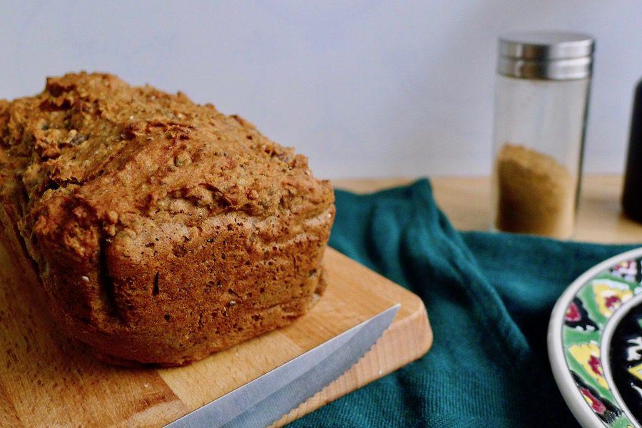 Speculaas bananenbrood, vegan en koolhydraatbeperkt recept ~ minder koolhydraten, maximale smaak ~ www.con-serveert.nl