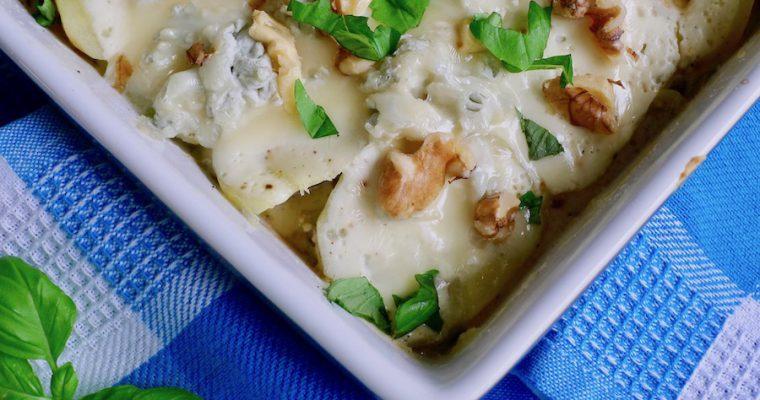 Wortelpeterselie ovenschotel met gorgonzola