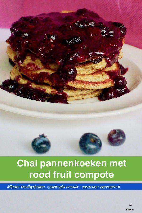 Chai pannenkoeken met rood fruit compote, koolhydraatarm recept ~ minder koolhydraten, maximale smaak ~ www.con-serveert.nl