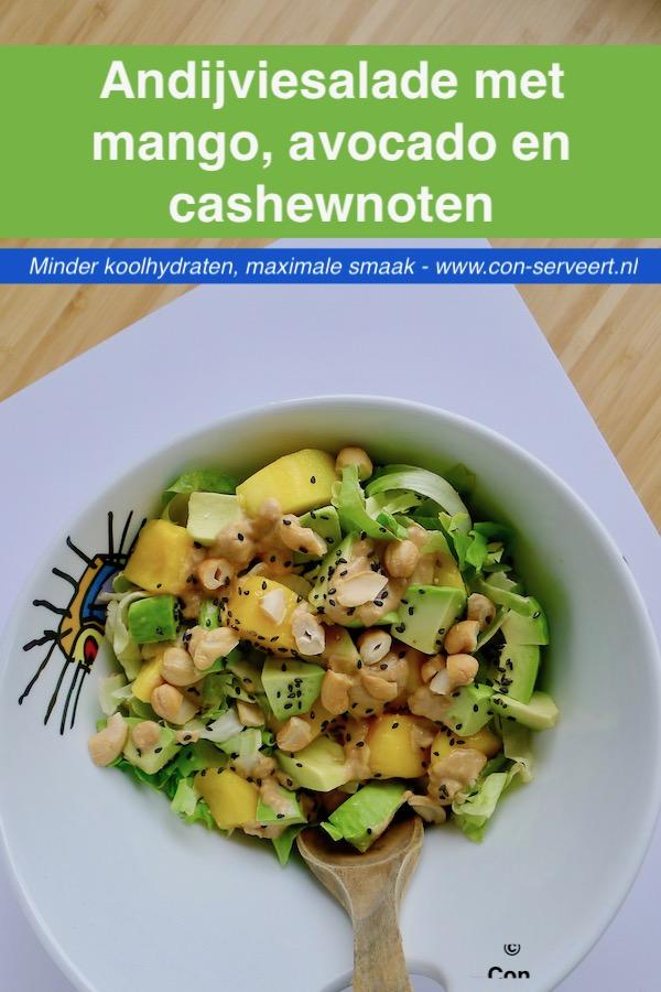Andijviesalade met mango, avocado en cashewnoten recept - minder koolhydraten, maximale smaak - www.con-serveert.nl