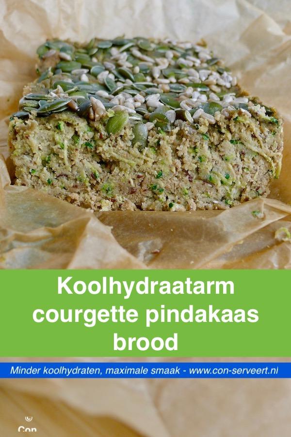 Koolhydraatarm courgette pindakaasbrood recept - vegetarisch koolhydraatarm genieten begint bij www.con-serveert.nl