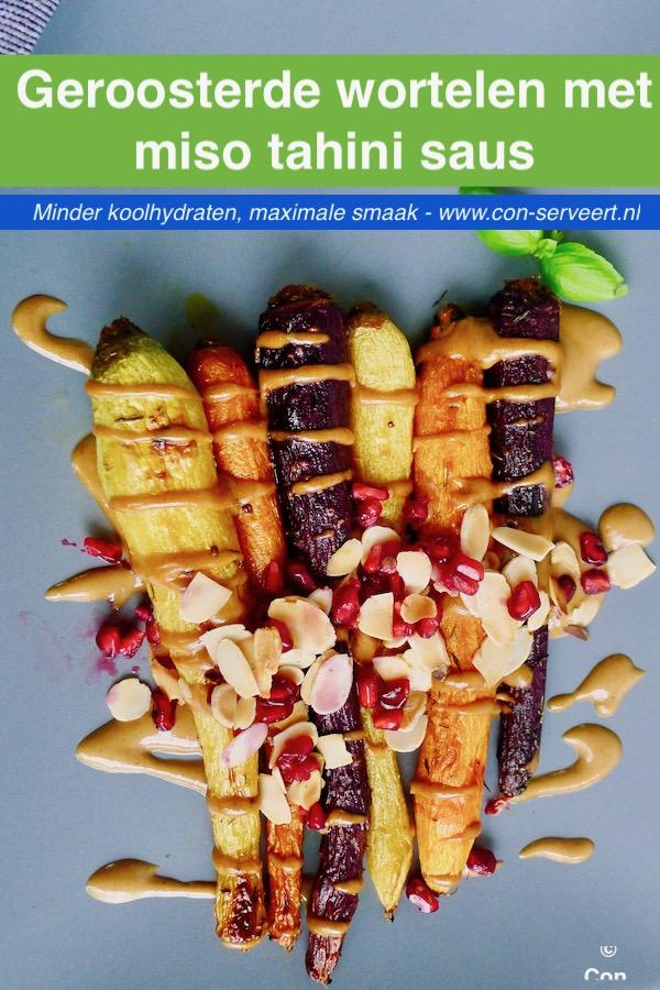 Geroosterde wortelen met miso tahini saus recept - minder koolhydraten, maximale smaak - www.con-serveert.nl