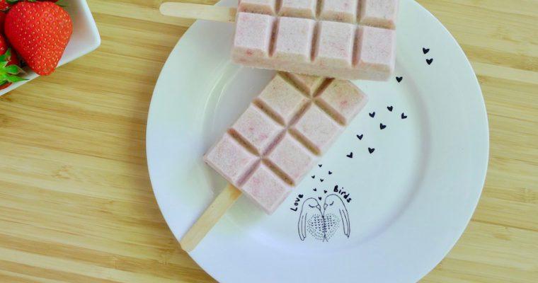 Rabarber aardbeien ijsjes
