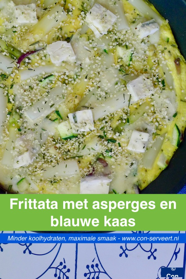 Frittata met asperges en blauwe kaas, koolhydraatarm recept ~ minder koolhydraten, maximale smaak ~ www.con-serveert.nl